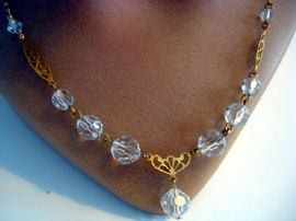 Vintage Austrian Crystal Necklace with Drop Detail